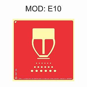 Placa Fotoluminescente E10 Válvula De Controle Do Sistema De Chuveiros Automáticos 20x20cm Sinalização para Equipamentos Imprefix