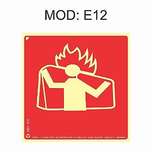Placa Fotoluminescente E12 Manta Anti-chama 20x20cm Sinalização para Equipamentos Imprefix