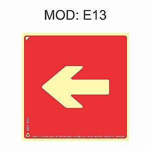 Placa Fotoluminescente E13 Indicação Seta para Esquerda 20x20cm Sinalização para Equipamentos Imprefix