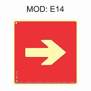 Placa Fotoluminescente E14 Indicação Seta para Direita 20x20cm Sinalização para Equipamentos Imprefix
