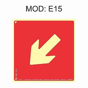 Placa Fotoluminescente E15 Indicação Seta Diagonal À Esquerda 20x20cm Sinalização para Equipamentos Imprefix