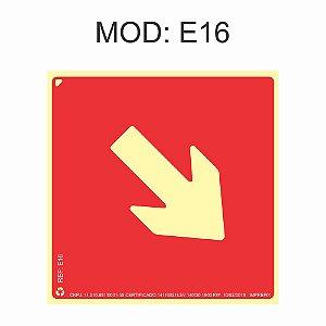 Placa Fotoluminescente E16 Indicação Seta Diagonal À Direita 20x20cm Sinalização para Equipamentos Imprefix