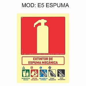 Placa Fotoluminescente E5 Extintor Espuma Mecânica 15x20cm Sinalização para Equipamentos Imprefix