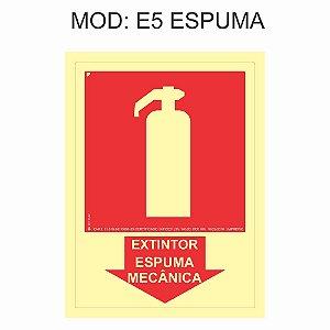 Placa Fotoluminescente E5 Extintor Espuma Mecânica indicação 15x20cm Sinalização para Equipamentos Imprefix