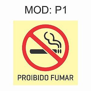Placa Fotoluminescente P1 Proibido Fumar 20x20cm Sinalização Alerta Geral Rota de Fuga Imprefix