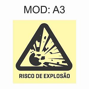 Placa Fotoluminescente A3 Risco De Explosão 20x20cm Sinalização Alerta Geral Rota de Fuga Imprefix