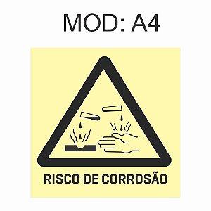 Placa Fotoluminescente A4 Risco De Corrosão 20x20cm Sinalização Alerta Geral Rota de Fuga Imprefix