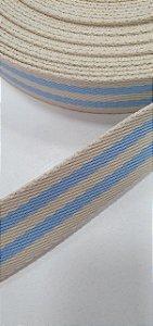 Alça azul bb com marfim 3cm
