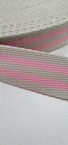 Alça rosa bb com marfim 3cm