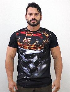 Camiseta Camisa Longline Estampa Full Caveira Mexicana