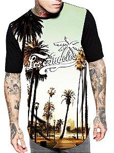 Camiseta Camisa Longline Estampa Full Los Angeles Cali