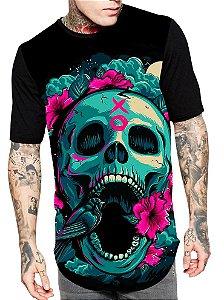 Camiseta Camisa Longline Estampa Full Skull Caveira Rosas Unissex