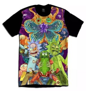 Camiseta Camisa Longline Estampa Full  Rick and Morty