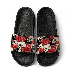 Chinelo Slide Unissex Sandalia Caveira Skull Florar Rosas