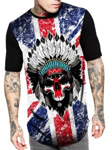 Camiseta Camisa Longline Estampa Full Caveira Indio