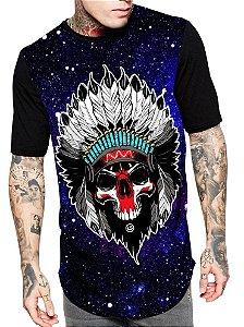Camiseta Camisa Longline Estampa Full Caveira Galaxia RF8113
