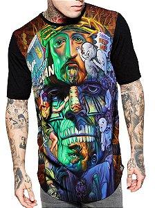 Camiseta Camisa Longline Estampa Full Frankenstein Psicodelico