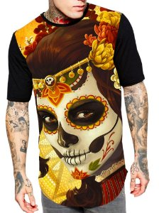 Camiseta Camisa Longline Estampa Full Catrina Unissex