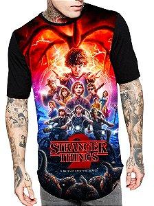 Camiseta Camisa Longline Estampa Full Stranger Things Unissex