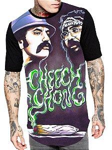 Camiseta Camisa Longline Estampa Full Cheeche Chong Unissex