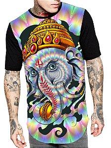 Camiseta Camisa Longline Estampa Full Lord Ganesha Unissex