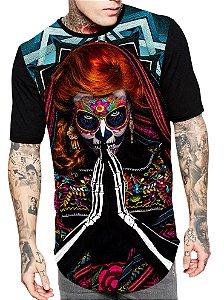 Camiseta Camisa Longline Estampa Full Catrina Skull Unissex