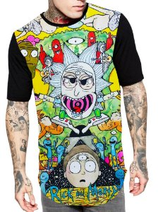 Camiseta Camisa Longline Estampa Full Rick e Morty Unissex