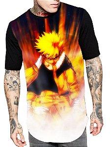 Camiseta Camisa Longline Estampa Full Naruto Unissex