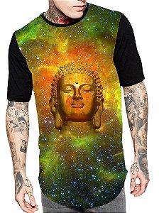 Camiseta Camisa Longline Estampa Full Buda Unissex