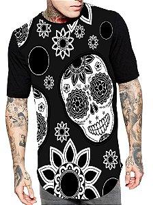 Camiseta Camisa Longline Estampa Full Skull Caveira Mexicana Unissex