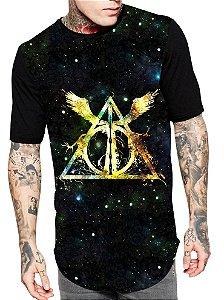 Camiseta Longline Estampa Full Harry Potter Unissex