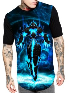Camiseta Longline Estampa Full Lol Of Legends Game Unissex Ref 220