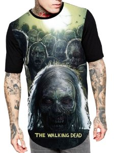 Camiseta Longline Estampa Full Walking Dead Serie