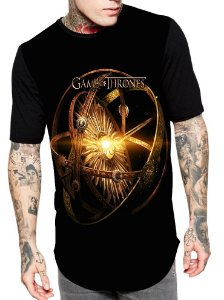 Camiseta Longline Estampa Full Game Of Thrones
