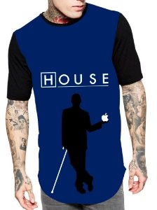 Camiseta Longline Estampa Full Dr House Serie