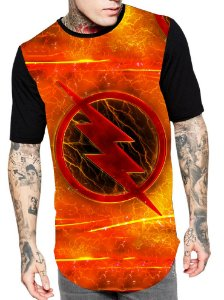 Camiseta Longline Estampa Full Super Heroi