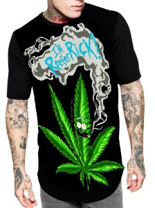 Camiseta Longline Estampa Full Rick e Morty Weeds