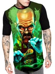 Camiseta Longline Estampa Full Breaking Bad