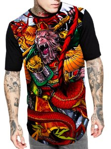 Camiseta Longline Estampa Full Monkey Macaco Rei