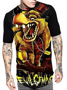 Camiseta Longline Estampa Full Lobo Mal