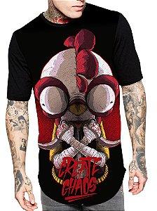 Camiseta Longline Estampa Full Chiken Create