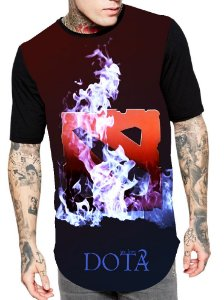 Camiseta Longline Estampa Full Dota 2 Game