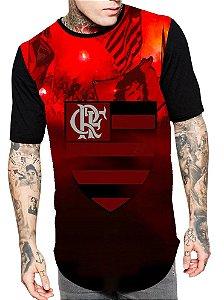 Camiseta Longline Estampa Full Flamengo Futebol