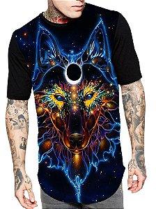 Camiseta Longline Estampa Full Lobo Wolf