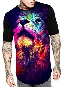 Camiseta Camisa Longline Estampa Full Leão Unissex