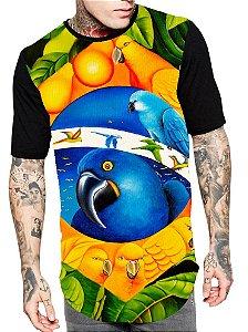 Camiseta Camisa Longline Estampa Full Brasil Araras Unissex