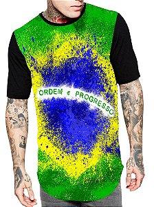 Camiseta Camisa Longline Estampa Full Brasil Copa Unissex