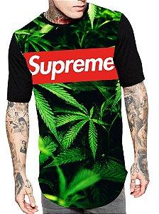Camiseta Camisa Longline Estampa Full Weed Supreme Unissex