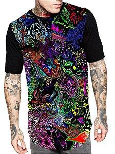 Camiseta Camisa Longline Estampa Full Psicodelia Unissex