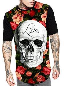 Camiseta Camisa Longline Estampa Full Caveira Skull Love Unissex